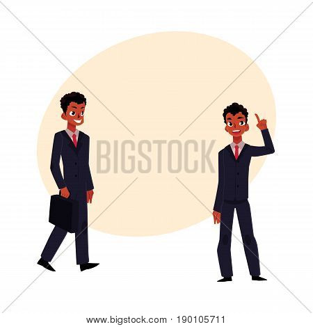 Black, African American businessman, manager in business suit holding briefcase and having idea, pointing up, cartoon vector illustration with space for text. Black ambitious businessman
