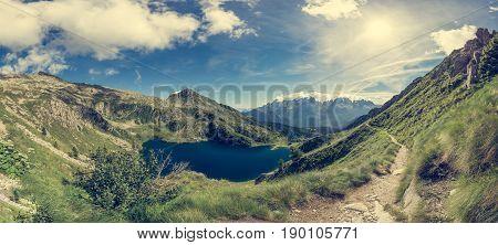 Glacier mountain lake in Brenta Dolomites. Lago Ritorto of the 5 Laghi trek.