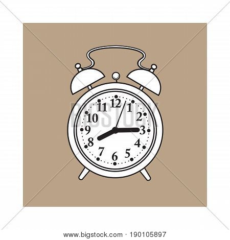 Retro style analog alarm clock, hand drawn sketch style vector illustration isolated on brown background. Realistic hand drawing of analog retro, vintage alarm clock with two bells