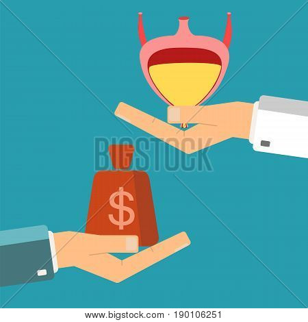 Hand of patient with money and a bladder in doctor hands. Transplant buying or treatment bladder. Healthcare concept. Vector