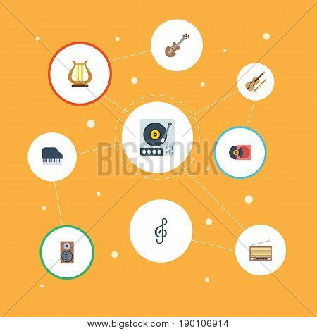 Flat Icons Radio, Acoustic, Lyre And Other Vector Elements. Set Of Audio Flat Icons Symbols Also Includes Violin, Speaker, Harp Objects.