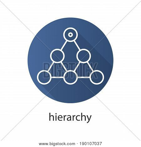 Hierarchy flat linear long shadow icon. Team building and structure concept. Vector line symbol