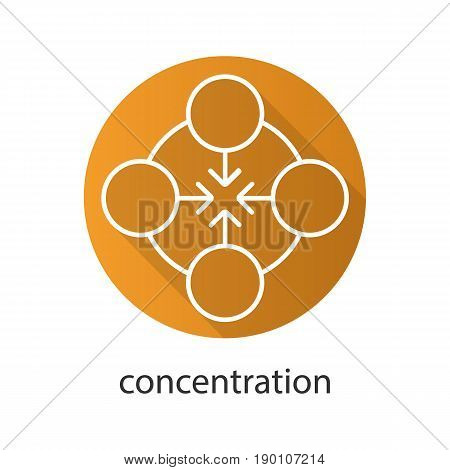 Concentration flat linear long shadow icon. Teamwork. Abstract metaphor. Vector line symbol