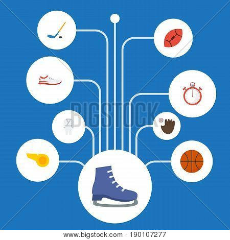 Flat Icons Basket, Uniform, Ice And Other Vector Elements. Set Of Fitness Flat Icons Symbols Also Includes Trekking, Whistle, Meter Objects.