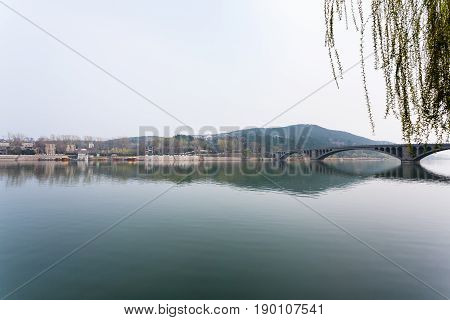 View Of Yi River And East Hill In Longmen