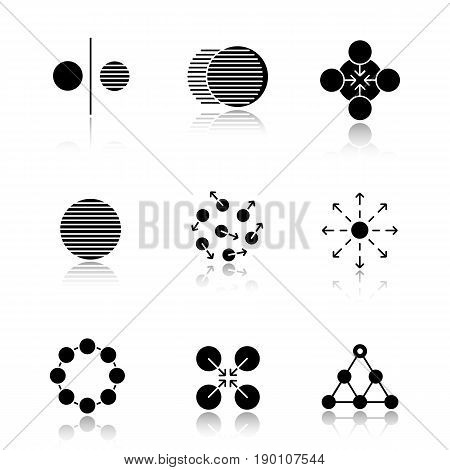Abstract symbols drop shadow black icons set. Opposite, movement, concentration, whole, chaos, spreading, circle, cooperative, hierarchy. Isolated vector illustrations