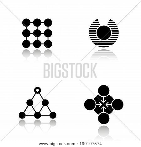 Abstract symbols drop shadow black icons set. Structure, vulnerability, hierarchy, concentration concepts. Isolated vector illustrations