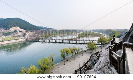 View With Bridge On Yi River And Longmen Grottoes