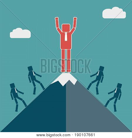 Competitor concept. Businessman on the top of the mountain. Vector illustration.