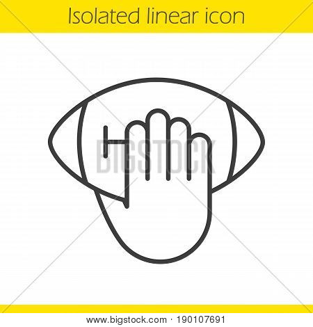 Hand throwing american football ball linear icon. Thin line illustration. Hand holding rugby ball contour symbol. Vector isolated outline drawing
