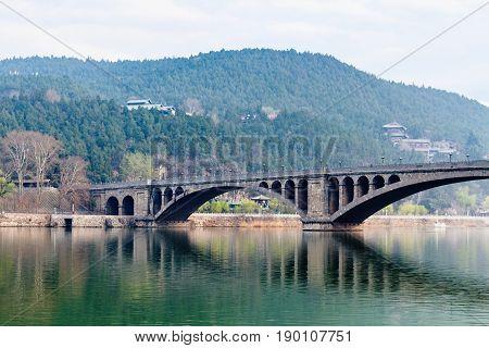 View Of Longmen Bridge Over Yi River In China