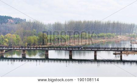 Above View Of Manshui Bridge On Yi River