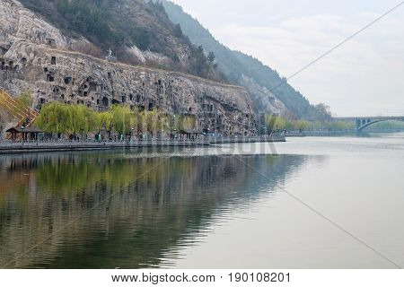 View Of Yi River And West Hill In Longmen Caves