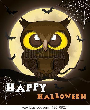 Cartoon owl on moon background.Halloween poster.Vector illustration