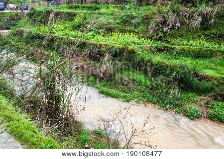 Water Stream Near Rice Terraced Fields In Dazhai
