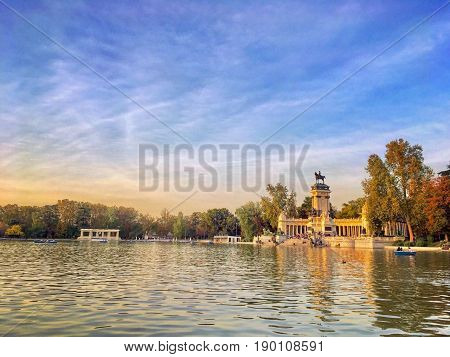 The Buen Retiro Park is one of the largest parks of the city of Madrid, Spain