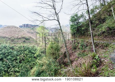 View Of Houses On Terraced Hills Of Dazhai