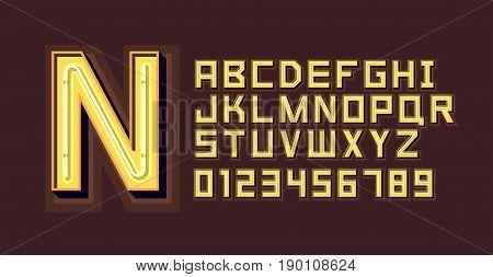 Yellow Neon Light Alphabet Font. Vector format