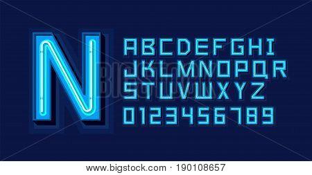 Blue Neon Light Alphabet Font. Vector format