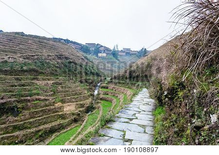 Pathway Between Terraced Hills Near Tiantouzhai
