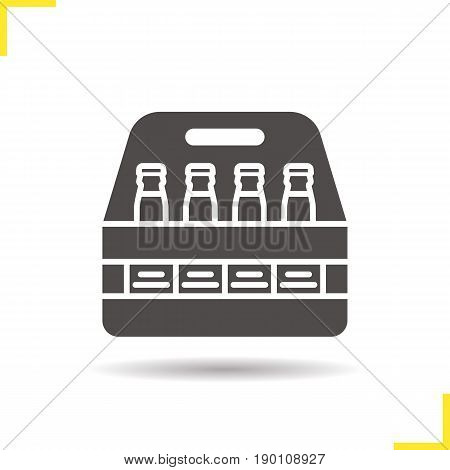 Beer bottles box glyph icon. Drop shadow silhouette symbol. Negative space. Vector isolated illustration