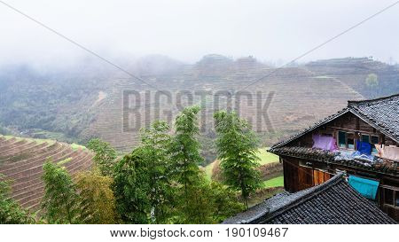 Houses In Tiantouzhai Village And Terraced Hills