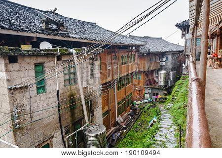 Houses In Tiantouzhai Village In Rainy Spring Day