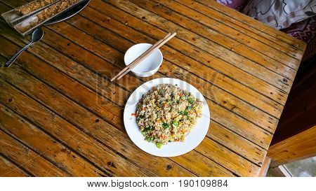 Above View Of Fried Rice With Vegetables