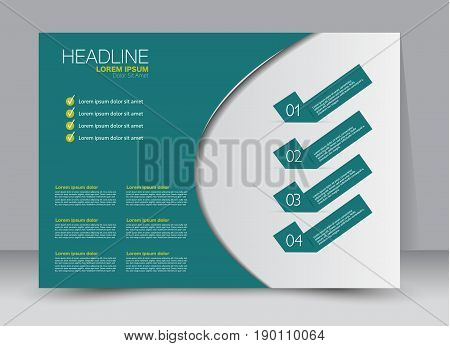 Flyer, brochure, billboard template design landscape orientation for education, presentation, website. Green color. Editable vector illustration.