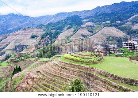 View Of Terraced Gardens In Dazhai Country