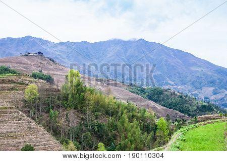 View Of Mountain Near Dazhai Village In Country