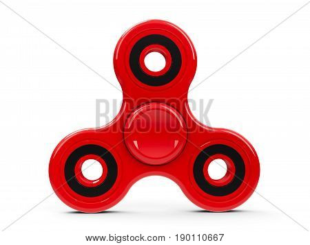 Red hand spinner toy isolated on white background - it relieves stress three-dimensional rendering 3D illustration