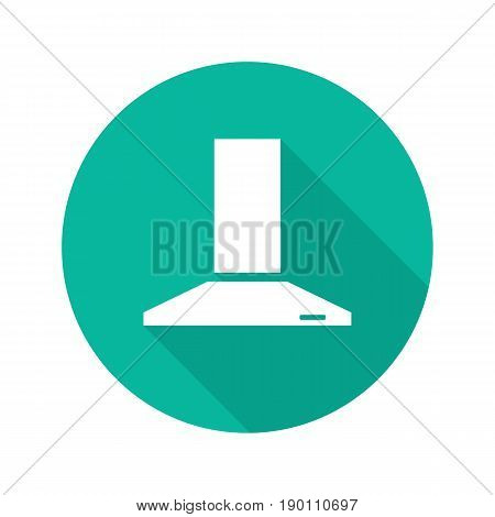 Range hood flat design long shadow icon. Extractor hood. Vector silhouette symbol