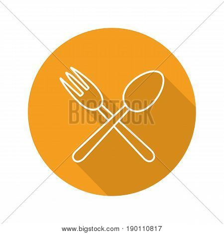Eatery flat linear long shadow icon. Crossed fork and spoon. Vector line symbol