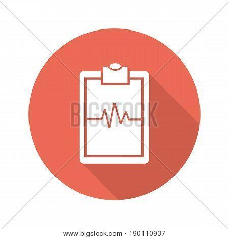 Cardiogram clipboard flat design long shadow icon. Heart monitor. Ecg. Vector silhouette symbol