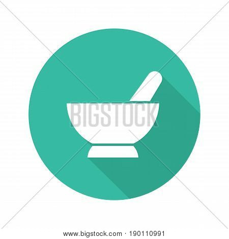 Mortar and pestle flat design long shadow icon. Naturopathy. Alternative herbal medicine. Vector silhouette symbol