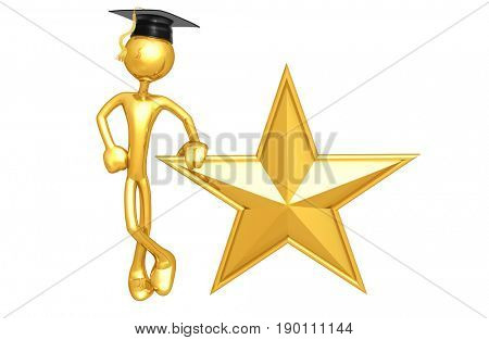 Graduate With A Star The Original 3D Character Illustration