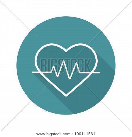 Heartbeat flat linear long shadow icon. Cardiology. Vector line symbol