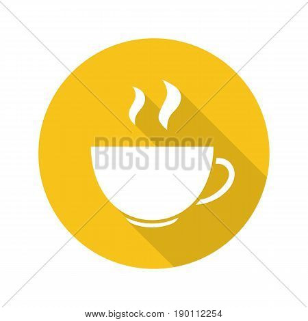 Steaming cup flat design long shadow icon. Hot steaming drink mug. Vector silhouette symbol