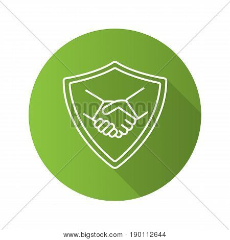 Safe bargain flat linear long shadow icon. Protection shield with handshake. Vector line symbol