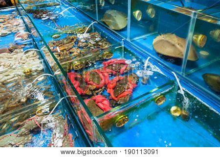 Crabs And Crayfishes In Fish Market In Guangzhou