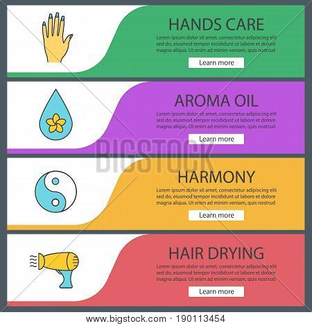 Spa salon web banner templates set. Woman's hand, aromatherapy oil drop, yin yang, hair dryer. Website color menu items. Vector headers design concepts