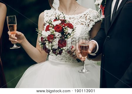 Bride And Groom Toasting With Champagne Glasses At Wedding Reception. Gorgeous Wedding Couple Newlyw