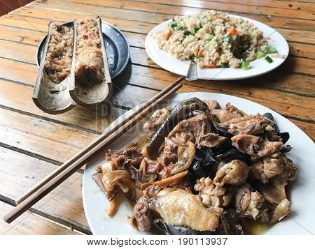 Asian Dinner With Chicken And Mushrooms