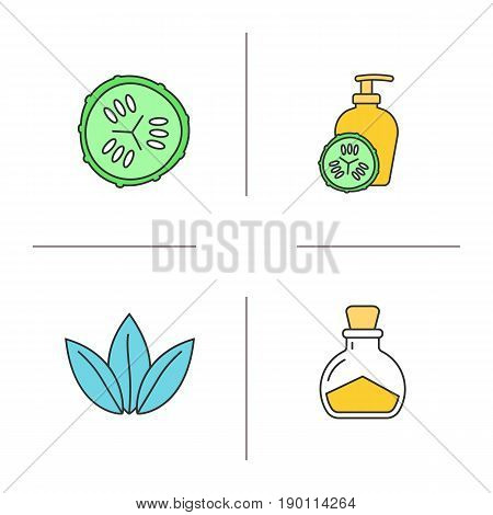 Spa salon color icons set. Cucumber slice and lotion container, salt bottle, loose leaves. Isolated vector illustrations