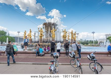 Moscow, Russia - May 27, 2017: The Peoples Friendship Fountain In Exhibition Of Achievements Of Nati