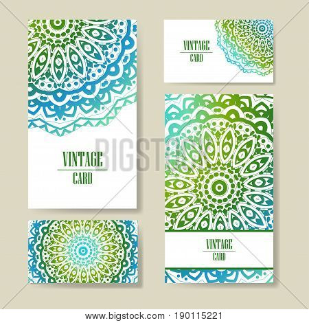 Vector template business card. Geometric background. Card or invitation collection. Islam, Arabic, Indian, ottoman motifs