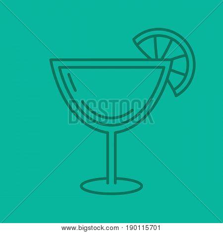 Margarita cocktail color linear icon. Martini drink. Thin line contour symbols on color background. Vector illustration