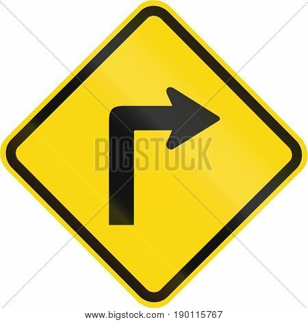 Road Sign Used In Brazil - Sharp Curve 90 Degrees To Right