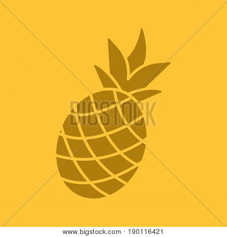 Pineapple glyph color icon. Silhouette symbol. Ananas. Negative space. Vector isolated illustration